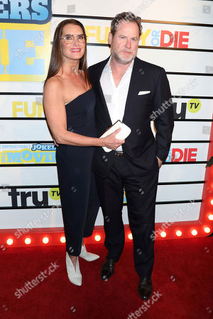 """Brooke Shields, Chris Henchy. Brooke Shields and Chris Henchy attend the premiere of """"Impractical Jokers: The Movie"""" at AMC Lincoln Square, in New York"""