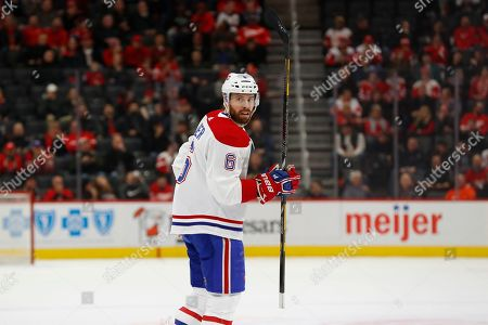 Montreal Canadiens defenseman Shea Weber (6) plays against the Detroit Red Wings in the first period of an NHL hockey game, in Detroit