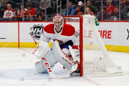 Montreal Canadiens goaltender Carey Price (31) plays against the Detroit Red Wings in the second period of an NHL hockey game, in Detroit