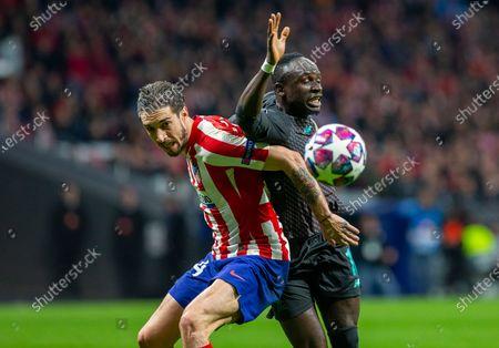 Atletico de Madrid's Sime Vrsaljko and Liverpool's Sadio Mane