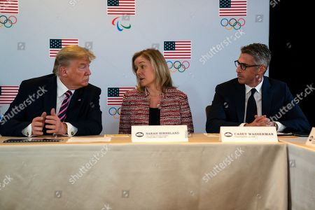 Donald Trump, Casey Wasserman, Sarah Hirshland. President Donald Trump speaks during a briefing with the U.S. Olympic and Paralympic Committee and Los Angeles 2028 organizers, in Beverly Hills, Calif. From left, Trump, CEO of the United States Olympic and Paralympic Committee Sarah Hirshland, and LA 2028 Committee Chairman Casey Wasserman