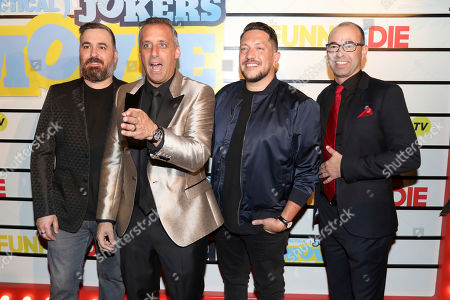 "Brian Quinn, Joe Gatto, Sal Vulcano, James Murray. Brian Quinn, from left, Joe Gatto, Sal Vulcano and James Murray attend the premiere of ""Impractical Jokers: The Movie"" at AMC Lincoln Square, in New York"