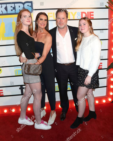 "Rowan Henchy, Brooke Shields, Chris Henchy, and Grier Henchy. Rowan Henchy, from left, Brooke Shields, Chris Henchy and and Grier Henchy attend the premiere of ""Impractical Jokers: The Movie"" at AMC Lincoln Square, in New York"