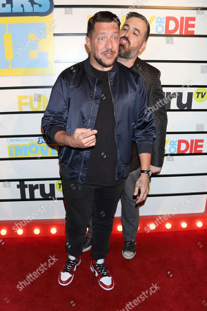 """Sal Vulcano, Brian Quinn. Sal Vulcano, left, and Brian Quinn attend the premiere of """"Impractical Jokers: The Movie"""" at AMC Lincoln Square, in New York"""