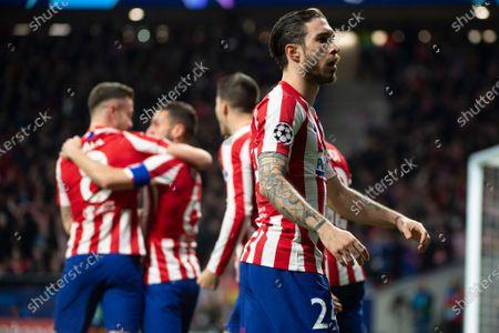 Sime Vrsaljko of Atletico de Madrid celebrates after Saul Niguez of Atletico de Madrid scores