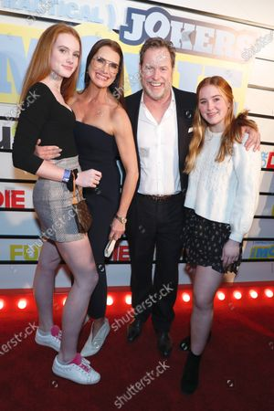Stock Image of Brooke Shields and Chris Henchy with daughters Rowan Henchy (far left) and Grier Henchy (far right)