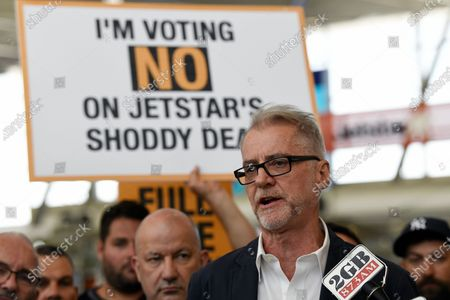 Stock Picture of Australian Senator Tony Sheldon speaks to Jetstar workers as they strike at Sydney Airport Domestic Terminal in Sydney, Australia, 19 February 2020. Jetstar staff at airports around Australia are striking for 24 hours in protest against the airline's current employment proposal.