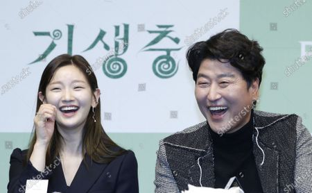Park So-dam (L) and Song Kang-ho (R) smile during a press conference for the movie of Parasite in Seoul, South Korea, 19 February 2020. Parasite is the first foreign-language movie to win an Academy Award for Best Picture.