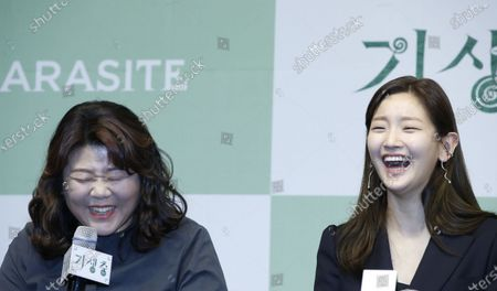South Korean actress Lee Jung-eun (L) and Park So-dam (R) smile during a press conference for the movie of Parasite in Seoul, South Korea, 19 February 2020. Parasite is the first foreign-language movie to win an Academy Award for Best Picture.