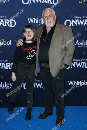 """John Ratzenberger and his granddaughter arrive at the World Premiere of """"Onward"""" at El Capitan Theatre, in Los Angeles"""