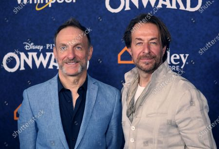 Stock Photo of Canadian film score composer Mychael Danna (L) and Canadian composer Jeff Danna (R) arrive at the premiere of the Disney Pixar movie Onward at El Capitan Theatre in Los Angeles, California, USA, 18 February 2020.