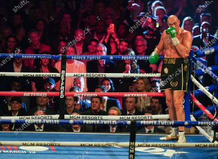 Tyson Fury    waits in the corner after he knocks  Deontay Wilder  down in the 3rd Round