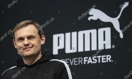 Bjorn Gulden, CEO of Puma, pictured during the annual earnings press conference in Herzogenaurach, Germany, 19 February 2020. The sporting goods manufacturer said they increased their sales in 2019 by 18.4 per cent to 5.502 million euros. The operating result (EBIT) improves by 30.5% from € 337 million to € 440 million according to the management.