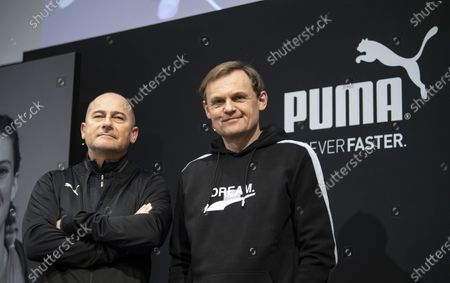 Michael Laemmermann (L), CFO of Puma, and Bjorn Gulden, CEO of Puma, are pictured during the annual earnings press conference in Herzogenaurach, Germany, 19 February 2020. The sporting goods manufacturer said they increased their sales in 2019 by 18.4 per cent to 5.502 million euros. The operating result (EBIT) improves by 30.5% from € 337 million to € 440 million according to the management.