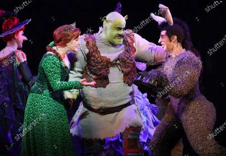 Lucy Durack as Princess Fiona (L), Ben Mingay as Shrek (C) and Nat Jobe as Donkey (R) perform during a media call for 'Shrek The Musical' at Her Majesty's Theatre in Melbourne, Victoria, Australia, 19 February 2020.