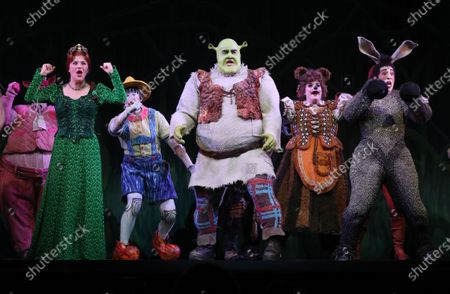 Stock Image of Lucy Durack as Princess Fiona (L), Ben Mingay as Shrek (C) and Nat Jobe as Donkey (R) perform during a media call for 'Shrek The Musical' at Her Majesty's Theatre in Melbourne, Victoria, Australia, 19 February 2020.