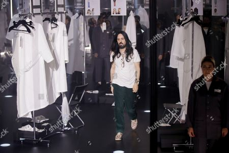 Designer Alessandro Michele walks out at the end of Gucci's Fall/Winter 2020/2021 collection, presented in Milan, Italy