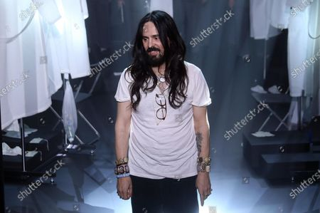 Italian designer Alessandro Michele appears on the catwalk at the end of his show for Gucci during the Milan Fashion Week, in Milan, Italy, 19 February 2020. The Fall-Winter 20/21 Women's collections are presented at the Milano Moda Donna from 18 to 24 February   2020.