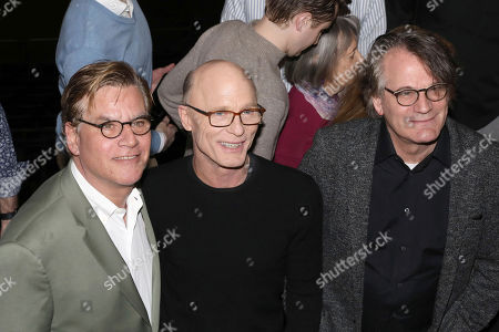 """Aaron Sorkin, Ed Harris, Bartlett Sher. Aaron Sorkin, from left, Ed Harris and Bartlett Sher participate in a press conference to announce an upcoming performance of """"To Kill a Mockingbird"""" at Madison Square Garden, in New York. The performance is scheduled to take place on Feb. 26, 2020"""