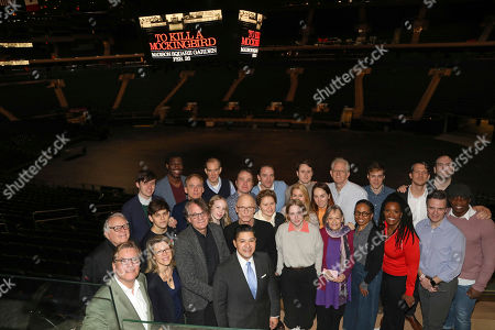 """Richard Carranza, Ed Harris, Aaron Sorkin, Bartlett Sher. New York City Schools Chancellor, Richard Carranza, front row, and the cast of """"To Kill A Mockingbird"""" participate in a press conference to announce an upcoming performance of """"To Kill a Mockingbird"""" at Madison Square Garden, in New York. The performance is scheduled to take place on Feb. 26, 2020"""