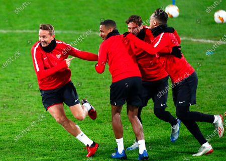 Sevilla players (L-R) Luuk de Jong, Fernando, Franco Vazquez and Munas Dabbur attend their team's training session in Cluj-Napoca, Romania, 19 February 2020. Sevilla FC will face CFR Cluj in their UEFA Europa League round of 32, first leg soccer match on 20 February 2020.