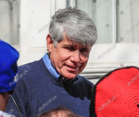 Former Illinois Governor Rod Blagojevich greets supporters after speaking for the first time since his release from federal prison at his home in Chicago, Illinois, USA 19 February 2020. Blagojevich served eight years of a 14 year federal prison sentence after being convicted of corruption. His sentence was commuted by US President Donald J. Trump on 18 February.