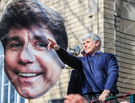 Former Illinois Governor Rod Blagojevich reacts after speaking for the first time since his release from federal prison at his home in Chicago, Illinois, USA 19 February 2020. Blagojevich served eight years of a 14 year federal prison sentence after being convicted of corruption. His sentence was commuted by US President Donald J. Trump on 18 February.