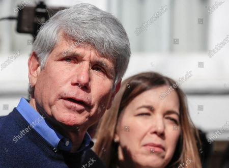 Former Illinois Governor Rod Blagojevich stands next to his wife Patti as he speaks for the first time since his release from federal prison at his home in Chicago, Illinois, USA 19 February 2020. Blagojevich served eight years of a 14 year federal prison sentence after being convicted of corruption. His sentence was commuted by President Donald J. Trump on 18 February.