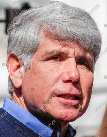 Former Illinois Governor Rod Blagojevich speaks for the first time since his release from federal prison at his home in Chicago, Illinois, USA 19 February 2020. Blagojevich served eight years of a 14 year federal prison sentence after being convicted of corruption. His sentence was commuted by President Donald J. Trump on 18 February.