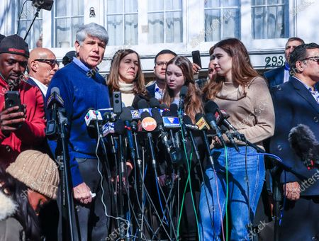 Former Illinois Governor Rod Blagojevich stands with his wife Patti (2L) and daughters Ann (2R) and Amy (R) as he speaks for the first time since his release from federal prison at his home in Chicago, Illinois, USA 19 February 2020. Blagojevich served eight years of a 14 year federal prison sentence after being convicted of corruption. His sentence was commuted by President Donald J. Trump on 18 February.