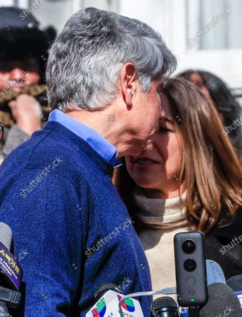 Former Illinois Governor Rod Blagojevich turns to kiss his wife Patti as he speaks for the first time since his release from federal prison at his home in Chicago, Illinois, USA 19 February 2020. Blagojevich served eight years of a 14 year federal prison sentence after being convicted of corruption. His sentence was commuted by President Donald J. Trump on 18 February.