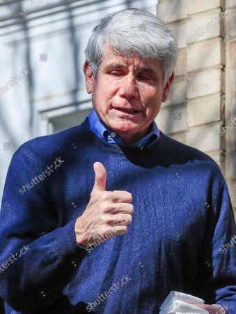 Former Illinois Governor Rod Blagojevich gives a thumbs up as he walks out of his house to speak for the first time since his release from federal prison at his home in Chicago, Illinois, USA, 19 February 2020. Blagojevich served eight years of a 14 year federal prison sentence after being convicted of corruption. His sentence was commuted by President Donald J. Trump on 18 February.