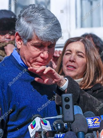 Former Illinois Governor Rod Blagojevich's wife Patti wipes his chin as he speaks for the first time since his release from federal prison at his home in Chicago, Illinois, USA 19 February 2020. Blagojevich served eight years of a 14 year federal prison sentence after being convicted of corruption. His sentence was commuted by President Donald J. Trump on 18 February.