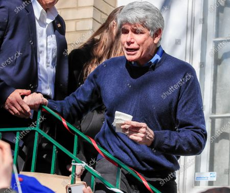 Former Illinois Governor Rod Blagojevich walks out of his house to speak for the first time since his release from federal prison in Chicago, Illinois, USA 19 February 2020. Blagojevich served eight years of a 14 year federal prison sentence after being convicted of corruption. His sentence was commuted by President Donald J. Trump on 18 February.