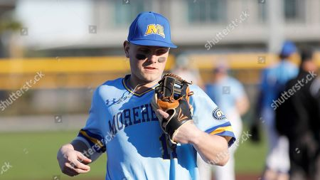 Stock Image of Morehead State's Stephen Hill runs to the dugout against Michigan State in an NCAA college baseball game at Shipyard Park, in Mt. Pleasant, S.C. Michigan State defeated Morehead State 15-3