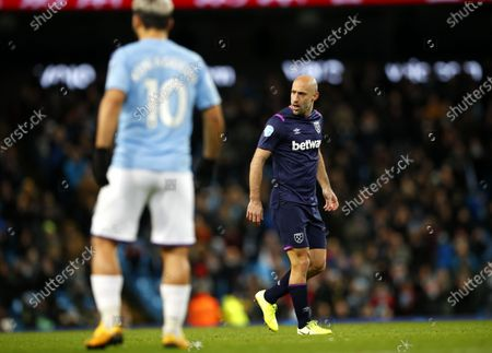 Pablo Zabaleta of West Ham during the English Premier League match between Manchester City and West Ham United in Manchester, 19 February 2020.