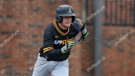Appalachian State's Hayden Cross runs to first base during an NCAA baseball game, in Boiling Springs, N.C