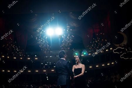 Stock Image of Polish tenor Piotr Beczala (L) and Russian soprano Aida Garifullina (R) perform in the ballroom during the dress rehearsal for the traditional 64th Vienna Opera Ball at the Wiener Staatsoper (Vienna State Opera) in Vienna, Austria, 19 February 2020. The Vienna Opera Ball takes place on 20 February.