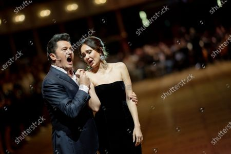 Polish tenor Piotr Beczala (L) and Russian soprano Aida Garifullina (R) perform in the ballroom during the dress rehearsal for the traditional 64th Vienna Opera Ball at the Wiener Staatsoper (Vienna State Opera) in Vienna, Austria, 19 February 2020. The Vienna Opera Ball takes place on 20 February.