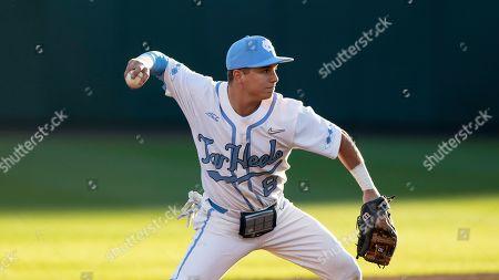 North Carolina's Patrick Alvarez (8) makes a throw during an NCAA baseball game, in Chapel Hill, N.C