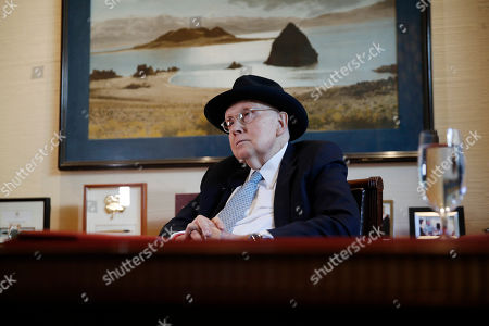 Former U.S. Sen. Harry Reid listens during an interview, in Las Vegas