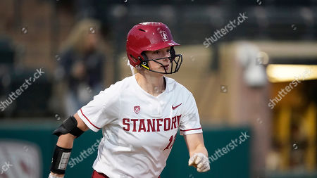 Stock Photo of Stanford's Emily Schultz (13) runs to first against Fresno State during an NCAA softball game, in Stanford, Calif