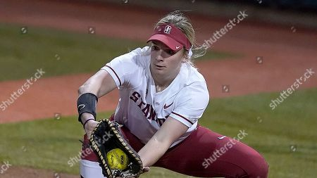Stock Picture of Stanford first baseman Emily Schultz (13) catches a ball to first base against Fresno State during an NCAA softball game, in Stanford, Calif