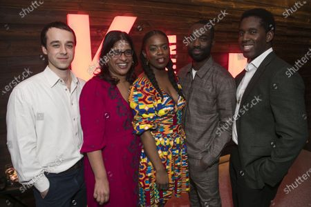 Stock Picture of Alexander Eliot (Mister/Ossifer), Indhu Rubasingham (Director), Antoinette Nwandu (Author), Paapa Essiedu (Moses) and Gershwyn Eustache Jnr (Kitch)