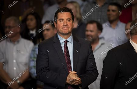 US Congressman Devin Nunes listens to US President Donald Trump addressing supporters during a rally in Bakersfield, California, USA, 19 February 2020. Trump addressed issues surrounding California's water supply.