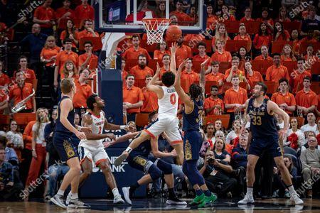 Virginia Guard Kihei Clark (0) during the NCAA Basketball game between the University of Notre Dame Fighting Irish and the University of Virginia Cavaliers at John Paul Jones Arena in Charlottesville, VA