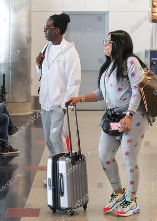Editorial photo of Shawn Stockman and Sharonda Jones out and about at LAX International Airport, Los Angeles, USA - 19 Feb 2020