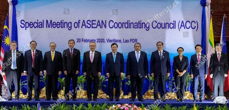 Saifuddin Abdullah, Kyaw Tin, Teodoro Locsin Jr., Vivian Balakrishnan, Don Pramudwinai, Pham Binh Minh, Erywan Yusof, Prak Sokhon, Retno Marsudi, Saleumxay Kommasith, Dato Lim Jock Hoi. Foreign ministers of The Association of Southeast Asian Nations (ASEAN) from left, Malaysia's Foreign Minister Saifuddin Abdullah, Myanmar's Minister of State for Foreign Affaires Kyaw Tin, Philippines' Foreign Affaires Secretary Teodoro Locsin Jr., Singapore's Foreign Minister Vivian Balakrishnan, Thailand's Foreign Minister Don Pramudwinai, Vietnam's Deputy Prime Minister and Foreign Minister Ph?m Binh Minh, Brunei's Second Minister of Foreign Affairs and Trade Erywan Yusof, Cambodia's Foreign Minister Prak Sokhon, Indonesia's Foreign Minister Retno Marsudi, Laos' Foreign Minister Saleumxay Kommasith, and ASEAN Secretary General Dato Lim Jock Hoi pose for a group photo ahead of the Special Meeting of the ASEAN coordination council in Vientiane, Laos