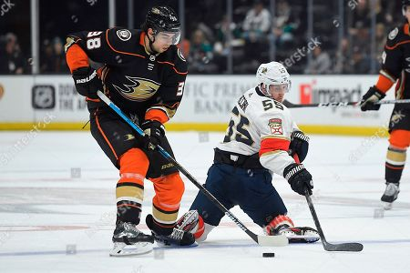 Anaheim Ducks center Derek Grant, left, and Florida Panthers defenseman Aaron Ekblad battle for the puck during the first period of an NHL hockey game, in Anaheim, Calif