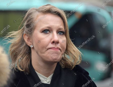 Stock Image of Anatoly Sobchak's daughter, Russian TV host Ksenia Sobchak attends the flower-laying ceremony at the Monument to the First Mayor of Saint Petersburg, Anatoly Sobchak.